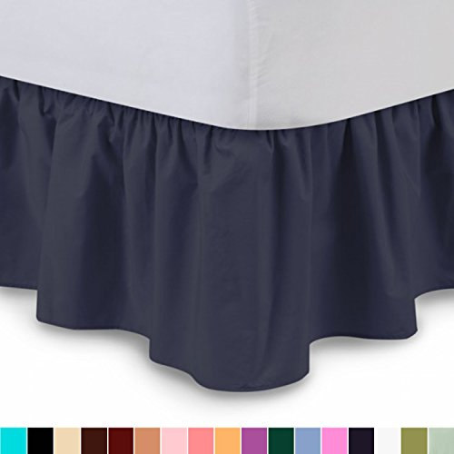 Shop Bedding Ruffled Bed Skirt (Twin, Navy Blue) 14 Inch Drop Dust Ruffle with Platform, Wrinkle and Fade Resistant - by Harmony Lane (Available in all bed sizes and 16 (Drop Blue Dust)