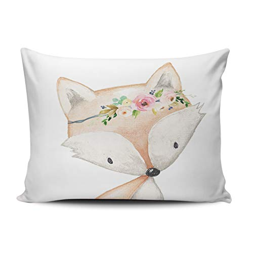 XIUBA Pillowcases Coral Pink and White Boho Fox Woodland Baby Girl Nursery Floral Customizable Decorative Rectangle 12x16 inch Boudoir Size Throw Pillow Case Hidden Zipper One Side Design Printed