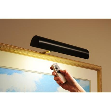 "Cordless Remote Control LED Picture Matte Black Finish, Compact 11 ½"" Wide by Picture Lamps"