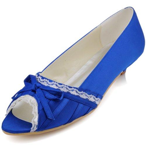 ElegantPark EL10009 Mujer Mini Tac¨®n Fiesta Zapatillas Cu?as Borde Arcos Sat¨¦n Zapatos De Boda Azul