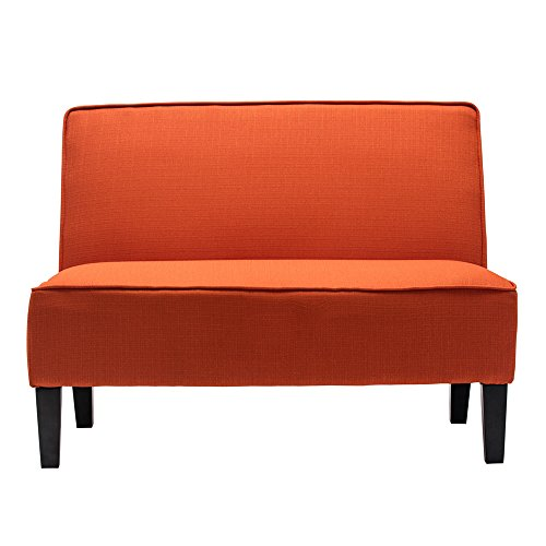 Upholstered Bench With Back - Cushioned Linen Armless Settee Loveseat Sofa Couch Home Casual Living Room Recliner (Orange)