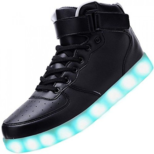 (Present:kleines Handtuch)JUNGLEST® Neu Damen Sneakers Leuchtende Blinkende Schuhe Led Light Licht Farbwech Schwarz