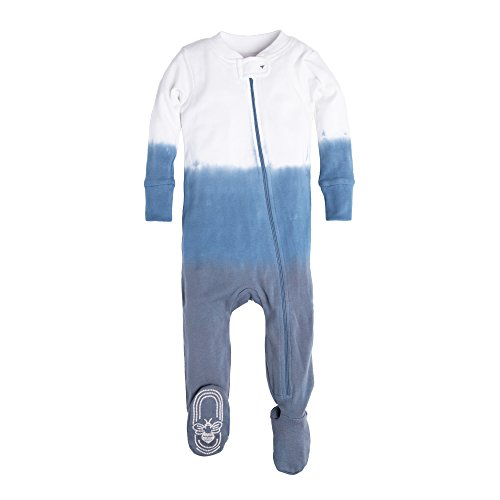 y Boys' Infant Organic Print Zip Front Non-Slip Footed Sleeper Pajamas, Slate Dip Dye, 18 Months (Dye Slip)