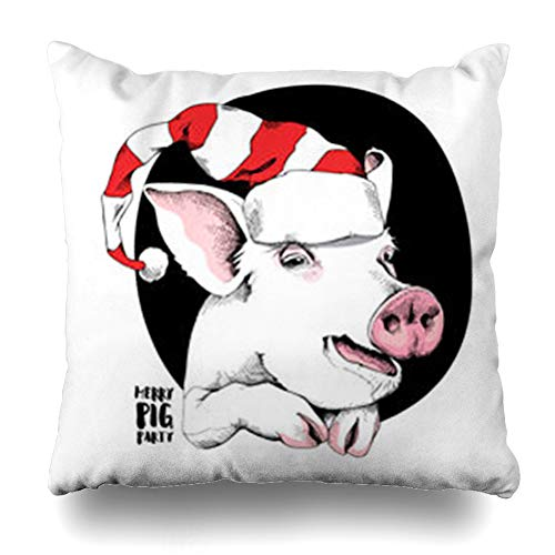 iDecorDesign Throw Pillow Covers Adorable Pink Pig Funny Santas Red Cap Holidays Carnival Celebrate Celebration Character Christmas Home Decor Pillow Case Square Size 18 x 18 Inches Pillowcase -