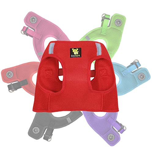 EcoBark Rapid Fastener Super Comfort Fully Adjustable Double Padded Step in Dog Harness (X-Small, Red)