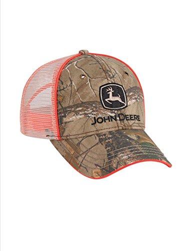 John Deere Realtree Xtra Camo Orange Piping Tan Mesh Cap Hat