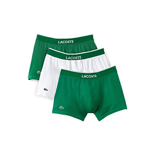 Lacoste Men's 3 Pack Cotton Stretch Trunk, White/Green, XL