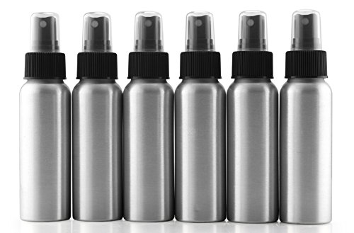 Cornucopia Brands 2-Ounce Aluminum Fine Mist Spray Bottles (6-Pack); Mini Metal Atomizer Bottles, 2.75oz Travel/Purse/Sample Size (Mister T Patio)