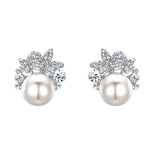 - EVER FAITH Bridal Silver-Tone Flower Simulated Pearl Stud Earrings Austrian Crystal Clear - Clip-on