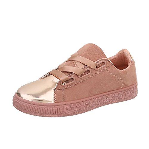 Rosa Scarpe Sneakers Design Donna Sneaker Ital da Low Piatto Ra1041 Oro aAwqxn8