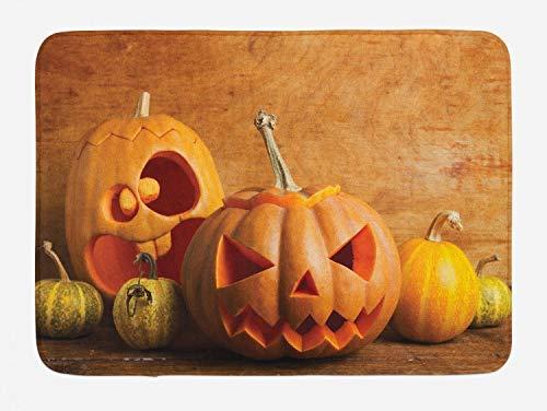 Bath Rug Autumn Pumpkin Bath Mat, Halloween Jack O Lantern Carved Fruits Photo, Plush Bathroom Decor Mat, 16x 24 Inches, Dark Orange Persian Orange Fawn Mustard