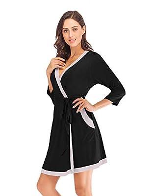 Romanstii Women's Soft Cotton Robes Lightweight Knee-Length Kimono Spa Bathrobe Loungewear