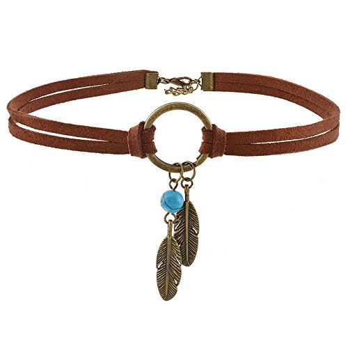 MJartoria Native American Bohemian Feather Charm Handmade PU Leather Choker Necklace Brown