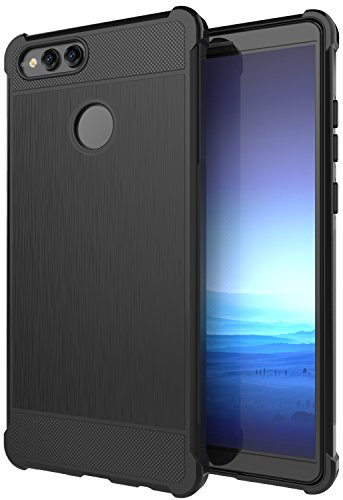 Honor 7X Case, ANLI [Slim Fit] [Shock Resistant] Soft TPU Brushed Anti-fingerprint Full-body Protective Case Cover For Huawei Honor 7X Black
