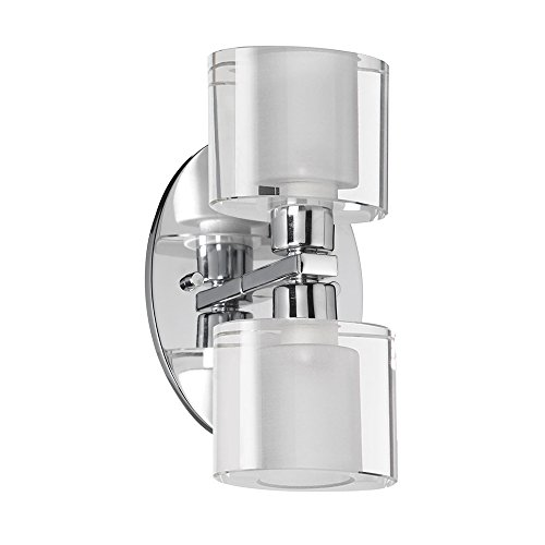 Dainolite Oval Crystal 2 Light Wall Sconce with Polished Chrome Finish, new