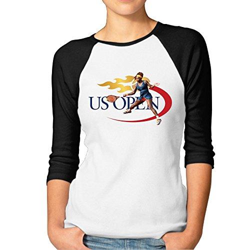 GOww Women's 2016 US Open Tennis Serena Williams 3/4 Sleeve Baseball T Shirts/Tee
