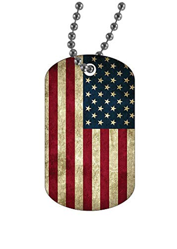 Rogue River Tactical USA Flag Dog Tag Pendant Jewelry Necklace Rustic Tattered American United States