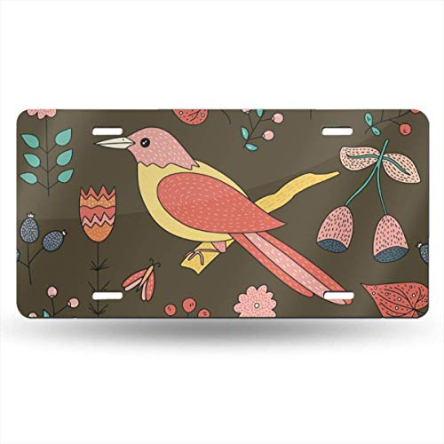 Personalized License Plates Colored Bird Perched On A Tree Trunk Aluminum Car Plate Decorative Car Tag Sign Metal Auto Tag Front License Plate Cover