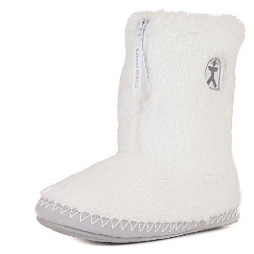 Booties Faux Fur - Bedroom Athletics Women's Monroe Faux Fur Slipper Boots - White/Trace Grey - Medium (7/8 US)