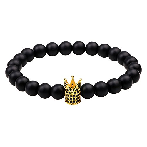 Winter's Secret Black Frosted Beads Golden Zirconia Crown Accessories Bracelet Gift Wrap Elastic Jewelry Wilton Trivet
