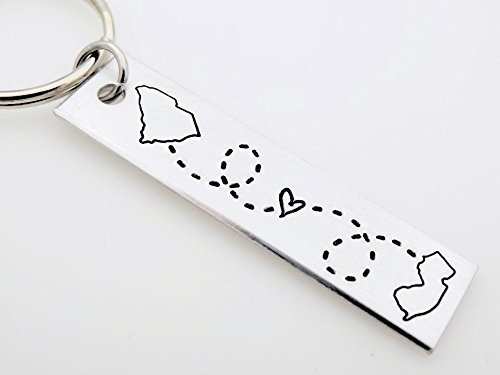 Long Distance Relationship Key Chain Gift Choose your states map custom LDR Long Distance Love best friends long distance family gift