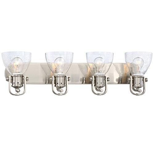 Minka Lavery Wall Light Fixtures 3414-84 Wall Bath Vanity Lighting, 4-Light 400 Watts, Brushed Nickel