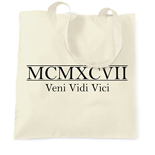 Roman Birthday 21st MCMXCVII Numerals Natural Shopping Bag 1997 UqqXd1