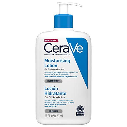 CeraVe Loción Hidratante |473ml| Loción hidratante para rostro y cuerpo para piel seca con ácido hialurón