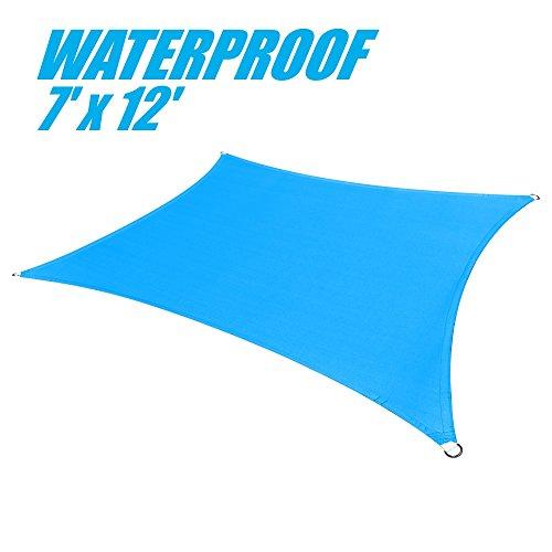 ColourTree 100% BLOCKAGE Waterproof 7′ x 12′ Sun Shade Sail Canopy Rectangle Blue – Commercial Standard Heavy Duty – 190 GSM – 4 Years Warranty (1)