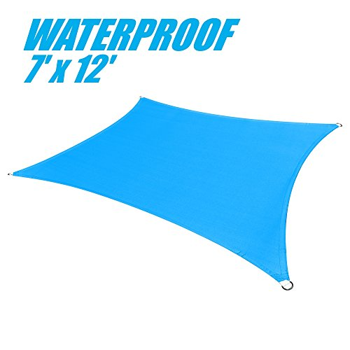 ColourTree 100 Blockage Waterproof 7 x 12 Sun Shade Sail Canopy Square Blue – Commercial Standard Heavy Duty – 220 GSM – 3 Years Warranty