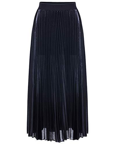 lastique Noir Maxi De Jupe Plage Robe Jupes Plisse Plage De Taille Longue Femmes 4wX7qwR
