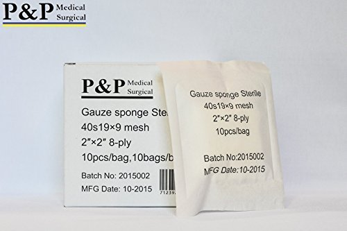 Gauze Surgical Sponges Cotton STERILE Non Woven 8-ply High Grade Quality by P&P Medical Surgical 2''x2'' Class I(a) All Purpose Pads (4000) by P&P Medical Surgical