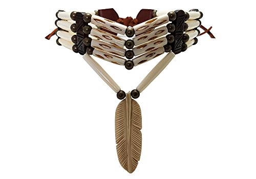 - Handmade Traditional 4 Row Buffalo Bone Hairpipe Tribal Choker Necklace with Feather Pendant