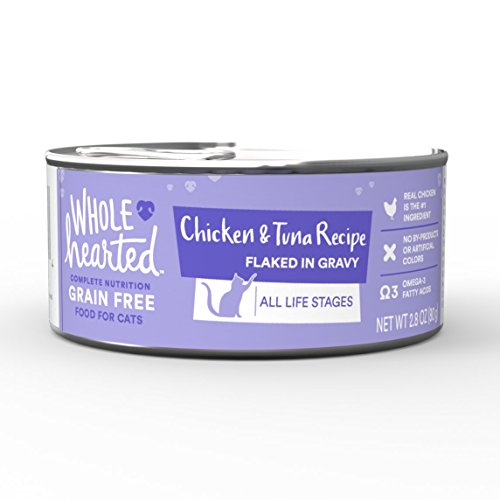 WholeHearted All Life Stages Canned Cat Food – Grain Free Chicken and Tuna Recipe Flaked in Gravy, 2.8 OZ, Case of 12, 12 X 2.8 OZ