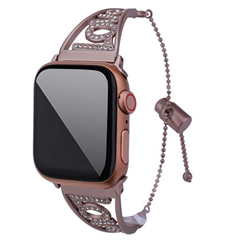 Diamonds Rose Alligator Watch - Celendi Best Gift for Mother's Day Luxury Crystal Love Symbol Strap Replacement for Apple Watch Band 4321 42mm/44mm