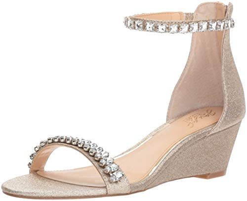 Badgley Mischka Jewel Women's Mel Wedge Sandal, Gold Glitter