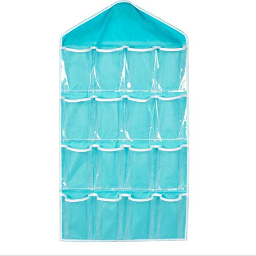 16 Bolsillos visibles Organizador Colgante para Armario Armario Bolsa de Almacenamiento Transparente Puerta Pared Bolsa Transparente con Bolsa para Colgar Azul