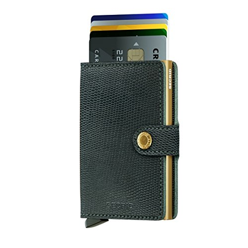 SECRID - Secrid Mini wallet Genuine Leather Rango Green Gold RFID Safe Card Case for max 12 cards