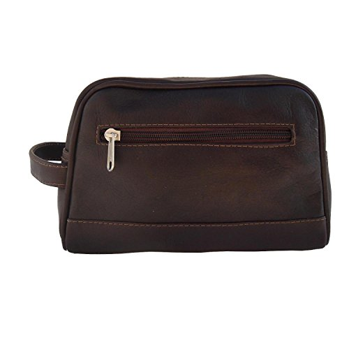 Piel Leather Top-Zip Toiletry Kit in Chocolate by Piel Leather