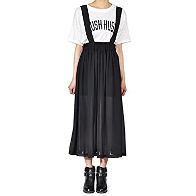 PinRoad Womens Preppy Ruffle Chiffon Gallus Maxi Skirt
