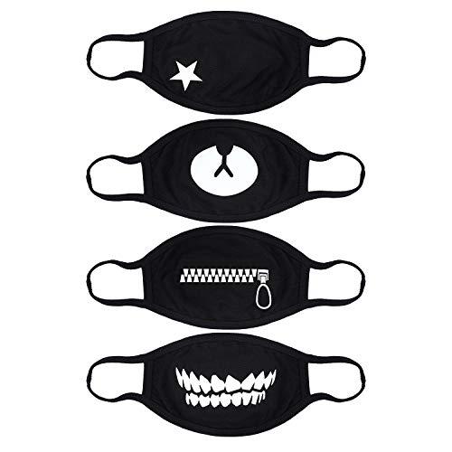 Zipper Mouth Mask (MEZETIHE Mouth Mask, 4Pcs Pack Unisex Korean EXO Mask Anti-dust Black Cotton Facial Kpop)