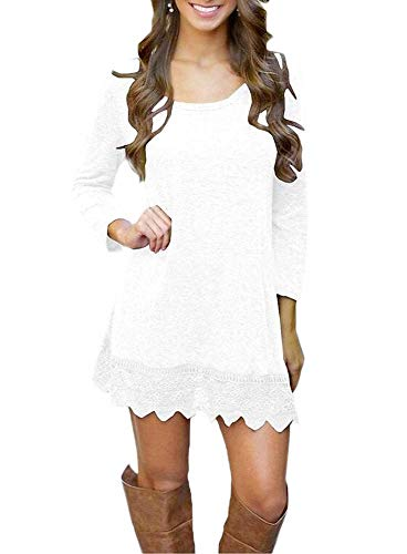 (Afibi Women's Long Sleeve A-Line Lace Stitching Trim Casual Dress (Medium, White))