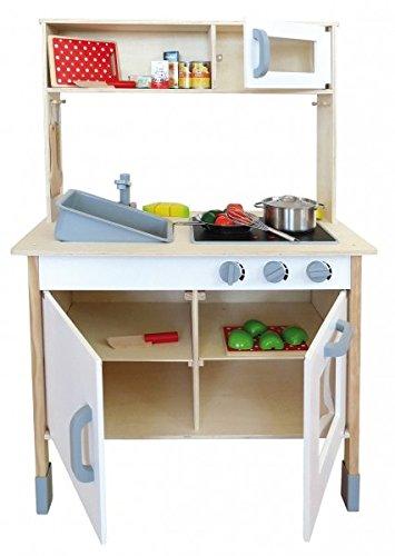 Kinderküche Holz Spielküche Mit Aufsatz Und Viel Zubehör Sound Geschirr:  Amazon.de: Spielzeug