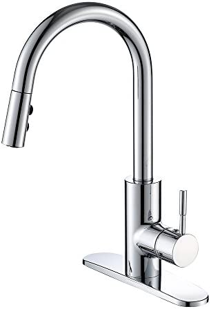 Kitchen Faucet with Sprayer Single Handle Pull Down Action 360 Degree Swivel Dual Function Stream Sprayer HONGKEN