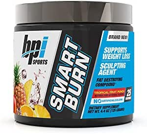 BPI Sports Smart Burn – Weight Loss, Burn Fat, Energy – Carnitine, Cla, Green Tea, Caffeine, Theobromine, Dynamine – for Men & Women – No Artificial Colors – Fruit Punch – 25 Servings – 4oz