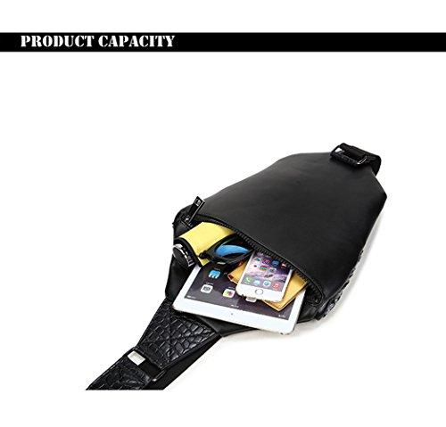 bolso de bandolera solo bolso de hombro animal de la cabeza del leopardo 3D Negro