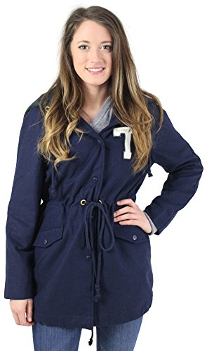 Tommy Hilfiger Toggle (Tommy Hilfiger Girl Juniors Varsity Hooded Parka Coat Blue Size L)