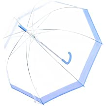 Rainbrace Transparent Bubble Umbrella Auto Open, Fashion Dome Shape with Color Trim