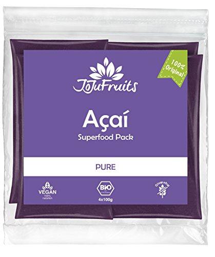 JoJu Fruits - Bio Acai Püree - PURE - 24 Smoothie Packs (Vegan, Glutenfrei, Zuckerfrei) Superfood aus Acai Beeren