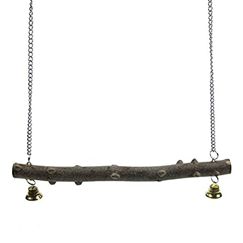 Alfie Pet by Petoga Couture - Hanson Wooden Perch Swing Toy for Birds - Size: Small - Wooden Perch